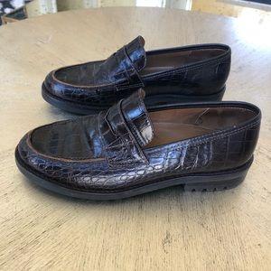 Ralph Lauren Croc Penny Loafers 7.5
